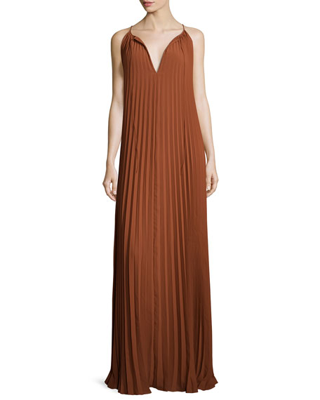 Cadence Sleeveless Pleated Maxi Dress, Cinnamon