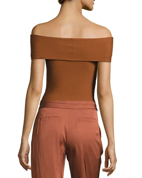 Dominique Off-the-Shoulder Ribbed Top, Cinnamon