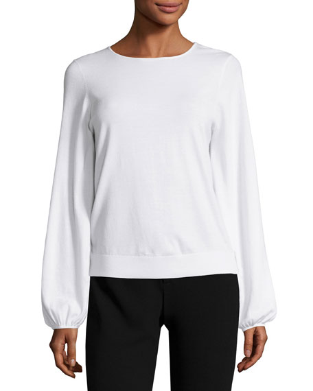 Georgia Bishop-Sleeve Knit Top, Ivory