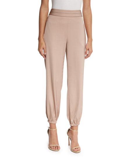 Pascal Tapered Stretch Jersey Pants, Champagne