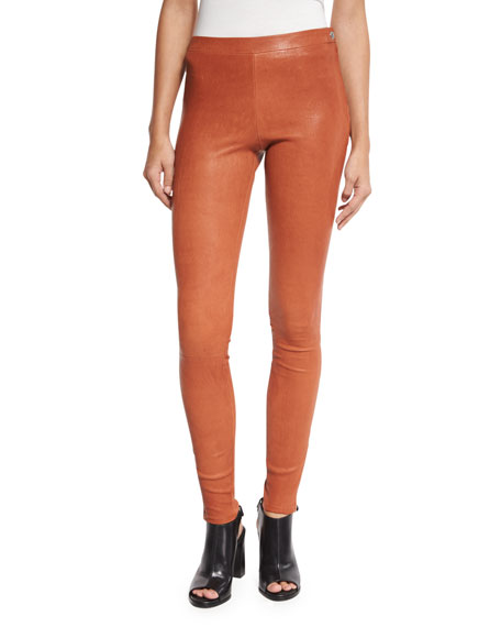 Elizabeth and James Xavier Zip-Trim Leather Leggings, Cinnamon