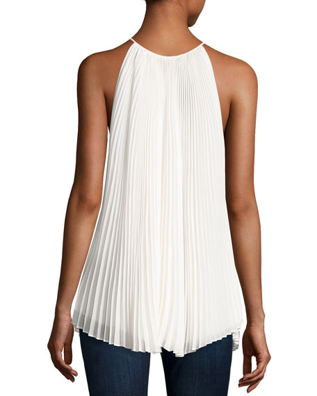Nina Pleated Chiffon Tie-Front Top, Ivory