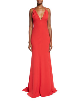Sleeveless Double-Strap Jersey Gown, Red
