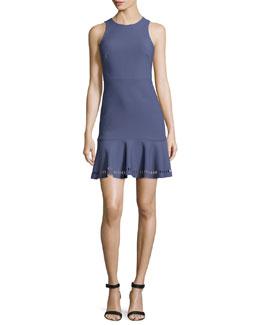 Hadley Fit-and-Flare Ponte Dress, Indigo