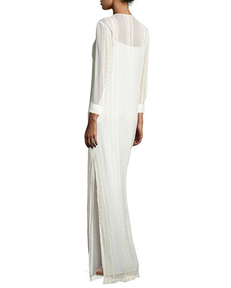 Mia Silk Lace-Trim Maxi Dress, Ivory