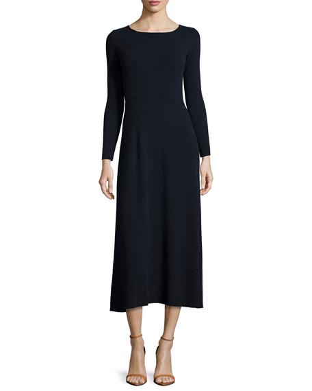 Elizabeth and James Caden Ribbed Tie-Back Midi Dress,