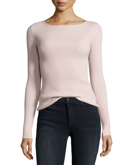Elizabeth and James Fay Long-Sleeve Ribbed Tie-Back Top,