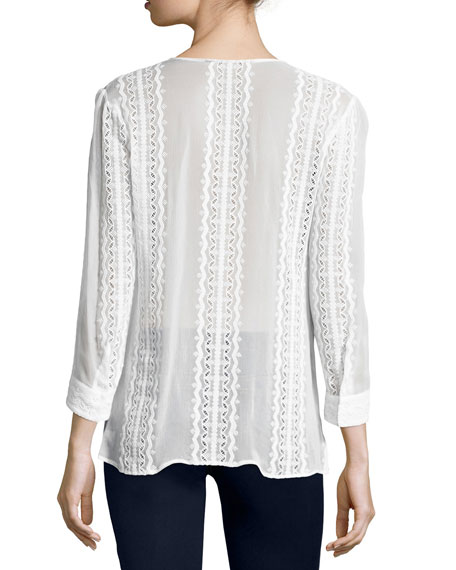 Riley Embroidered Silk Blouse, Ivory