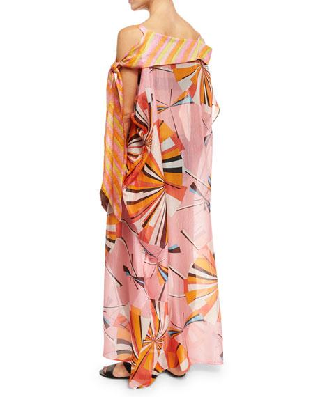 Parasol Silk Maxi Caftan Coverup, Pink