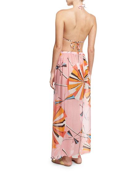 Parasol Silk Maxi Coverup Skirt, Rosa/Arancio/Limo