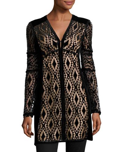 Long-Sleeve Velvet Lace Tunic, Black