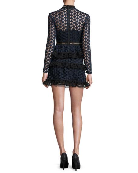 Star Lace-Paneled Mini Dress
