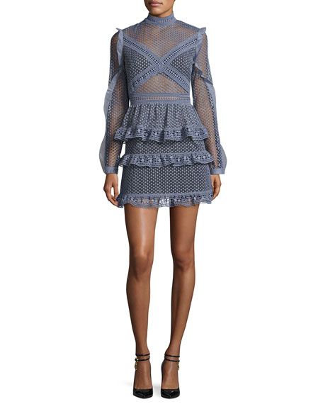 Dot-Lace Tiered Mini Dress, Dove Gray
