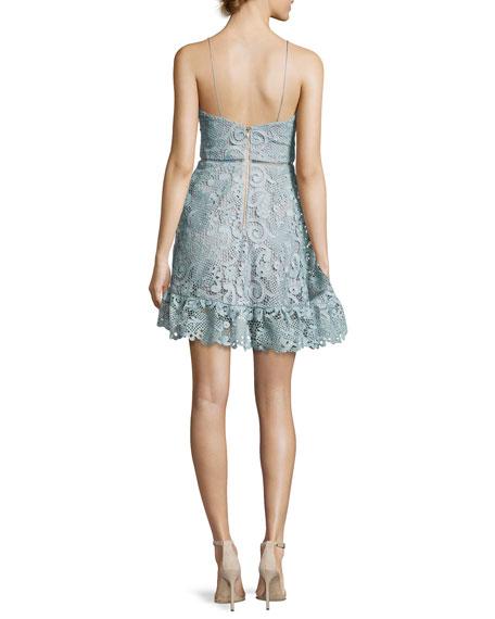 Paisley Vine Sleeveless Mini Dress, Light Blue