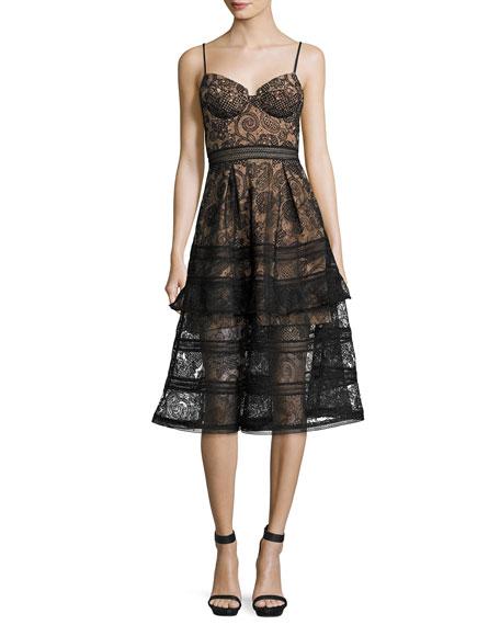 Paisley Lace Sleeveless Bustier Midi Dress, Black