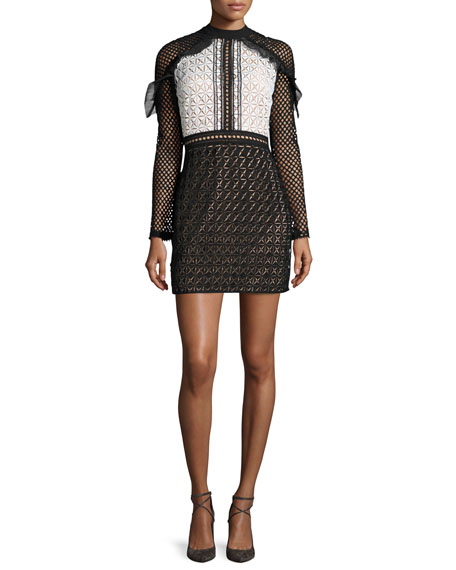 Geometric-Lace Long-Sleeve Mini Dress