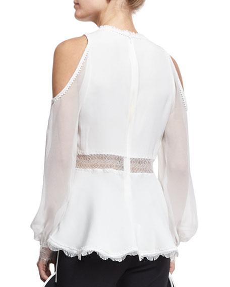 Silk Lace-Up Cold-Shoulder Shirt, Ivory