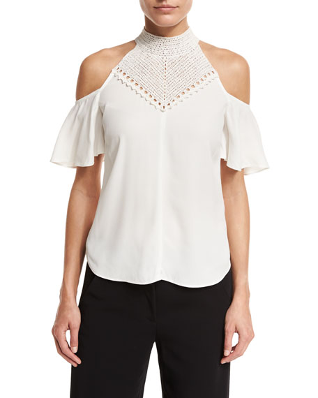 A.L.C. Rora Cold-Shoulder Chiffon Top, White/Gold