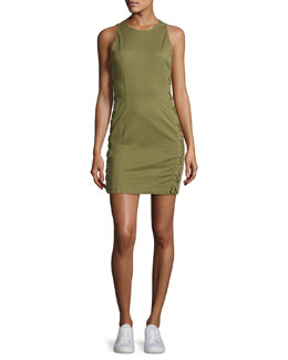 Valera Sleeveless Laced Twill Mini Dress, Sage