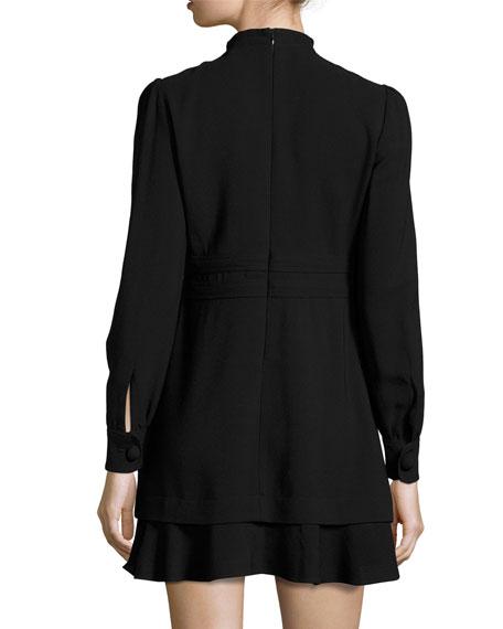 Faye Stretch Crepe Mini Dress, Black
