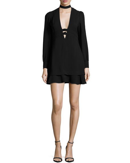 A.L.C. Faye Stretch Crepe Mini Dress, Black