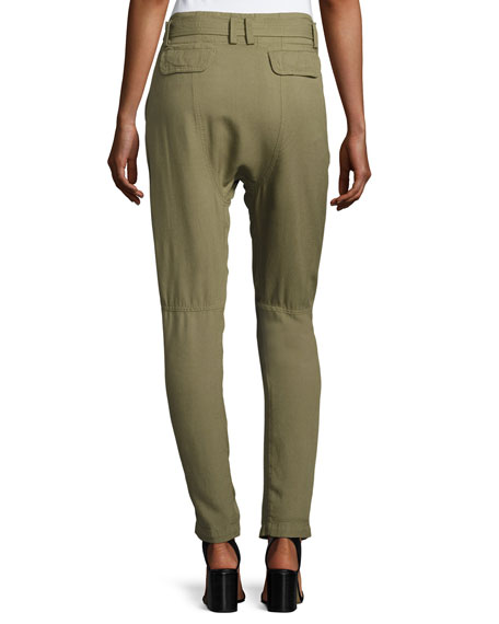 Ansel Belted Twill Straight-Leg Pants, Army