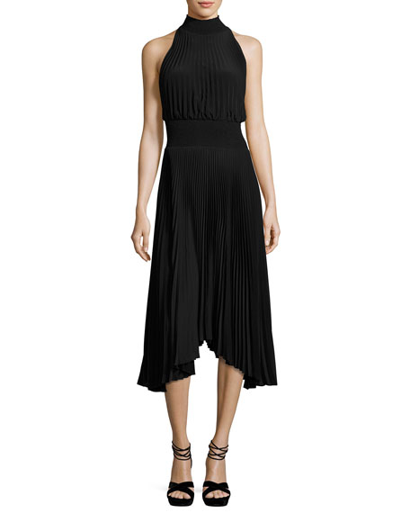 A.L.C. Renzo Pleated Jersey Midi Dress, Black