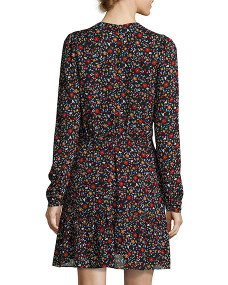 Renata Long-Sleeve Floral Silk Mini Dress