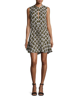 Calder Sleeveless Damask Mini Dress, Black/Yellow