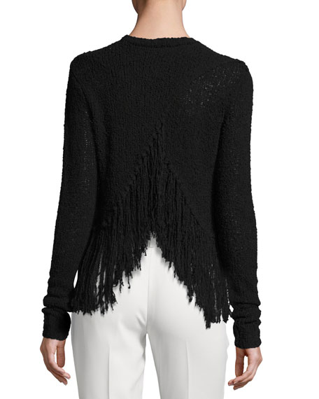 Overlap-Back Fringe Sweater, Black