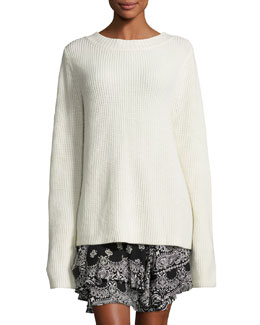 Markell Ribbed Wool & Cashmere Sweater, White