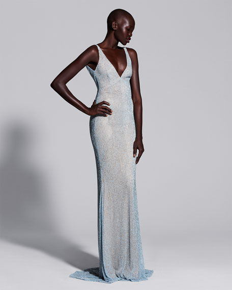Sleeveless Beaded Cowl-Back Gown, Pale Blue