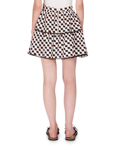 Silk Jacquard Scalloped Check Skirt, White