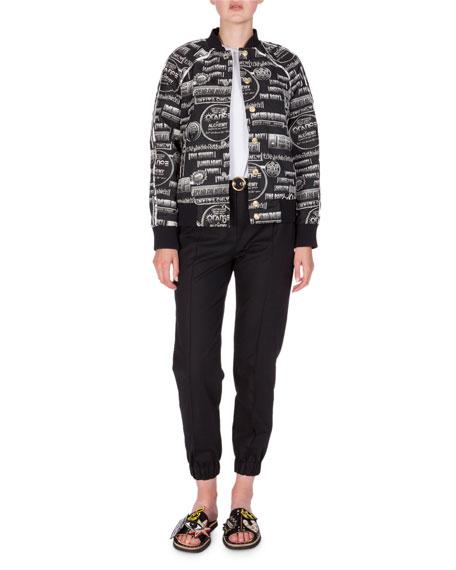Belted Cropped Cotton-Blend Track Pants, Black