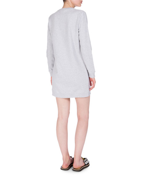 Embroidered Logo Crewneck Sweat Dress, Light Gray