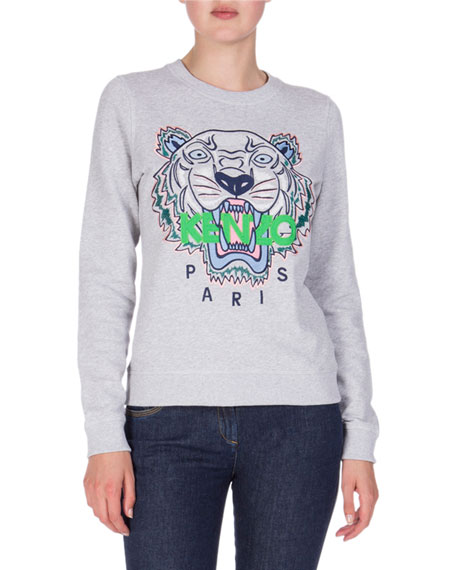 Embroidered Logo Crewneck Sweatshirt, Light Gray