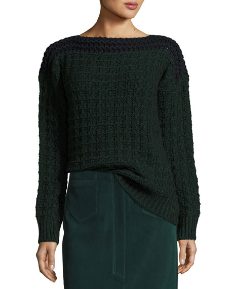 Chunky Knit Colorblock Sweater, Navy/Green