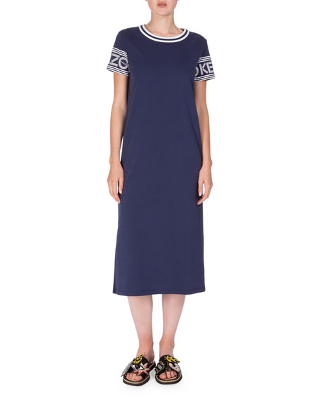 Logo-Sleeve Jersey Midi Dress, Midnight Blue