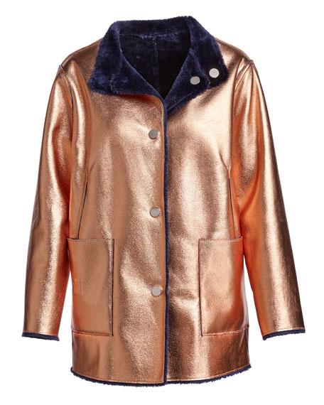 Culver Reversible Faux-Fur Coat, Deep Navy/Multicolor