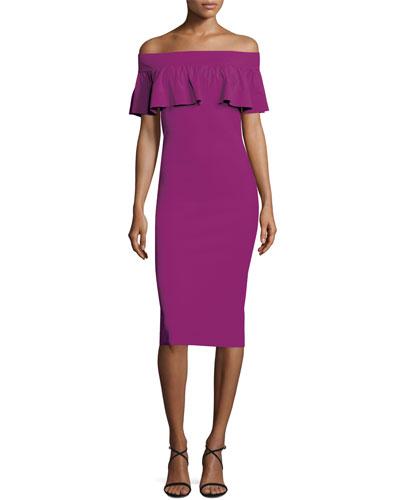 Off-the-Shoulder Contour Popover Dress, Vinaccia