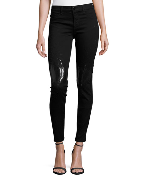 J Brand Jeans Drizzle Sequined Mid-Rise Super Skinny