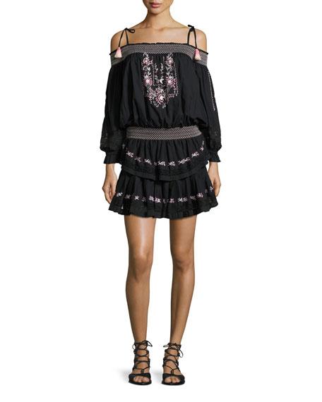 Loveshackfancy Cold-Shoulder Embroidered Ruffle Mini Dress, Black