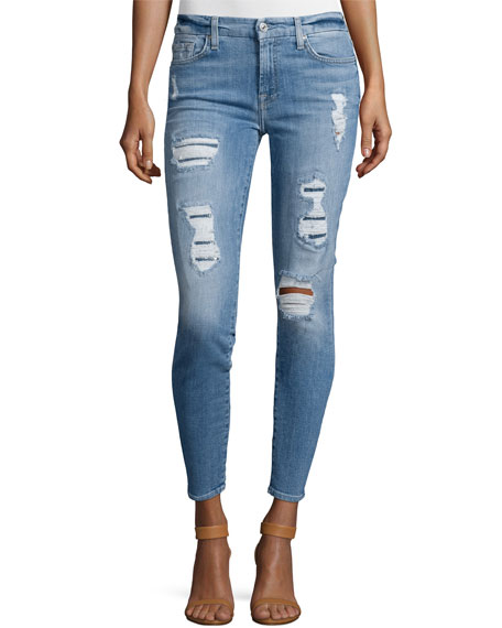 The Ankle Skinny Destroyed Jeans w/Sequins, Light Blue