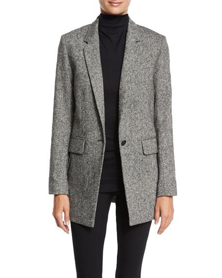Ronin Wool-Blend Blazer, Black/White