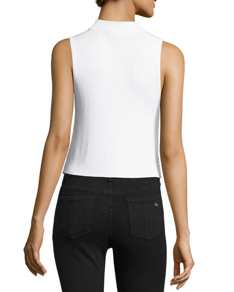 Ingrid Sleeveless Eyelet Mesh Top, White