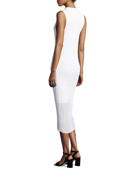 Ingrid Sleeveless Eyelet Mesh Midi Dress, White