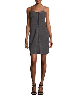 Lois Striped Silk Mini Dress, Black/White
