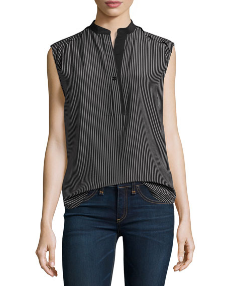 Tennant Sleeveless Striped Silk Shell, Black/White