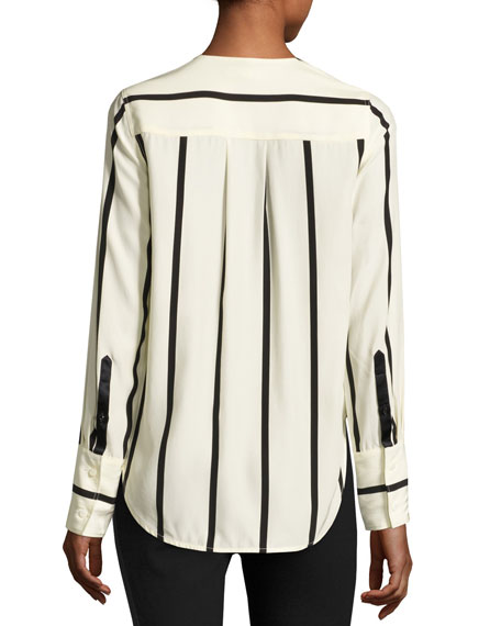 Max Long-Sleeve Striped Silk Blouse, Beige