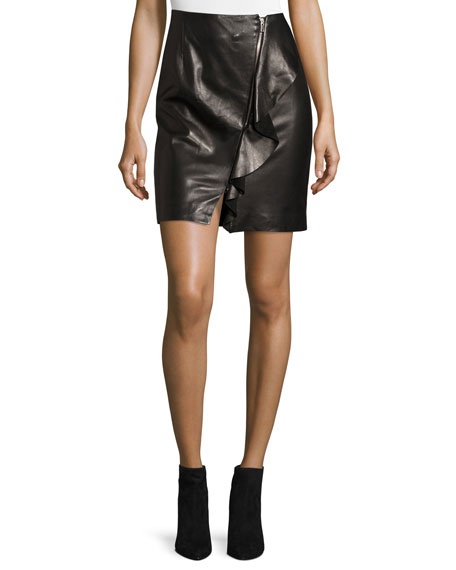 Iro Tia Draped Leather Skirt, Black